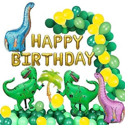 48 パック 恐竜 誕生日飾り付け, GANKE 恐竜党装飾バルーン用品、恐竜風船誕生日用風船20個緑ラテックス風...