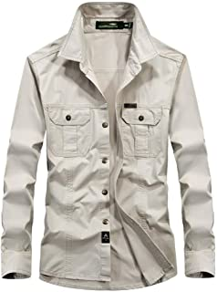 Soft and Close Casual Men's Long-Sleeved Shirt, Cotton Fashion T-Shirt Plus Large Yard wl (Color : Beige, Size : 5XL)