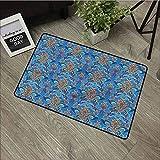 Felpudo Azul con diseño de Flores abstractas y Elegantes felpudos de Bienvenida, 39 x 20 Pulgadas