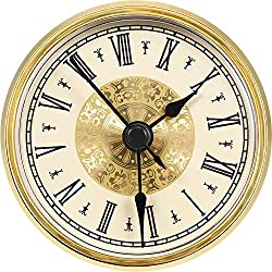 Hicarer 2.8 Inch/ 70 mm Roman Numeral Clock Insert with Gold Trim, Quartz Movement