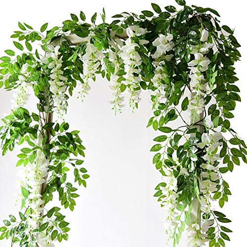 karoro Artificial Wisteria Vine, Fake Silk Flowers Hanging Vines Plants Faux Garlands for Garden Outdoor Wall Greenery Jungle Party Wedding Arch Floral Decoration