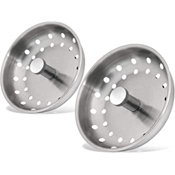 Mromax 2pcs Kitchen Sink Strainer Stainless Steel Basket Grip 79mm With Rubber Stopper Silver Tone Amazon Com