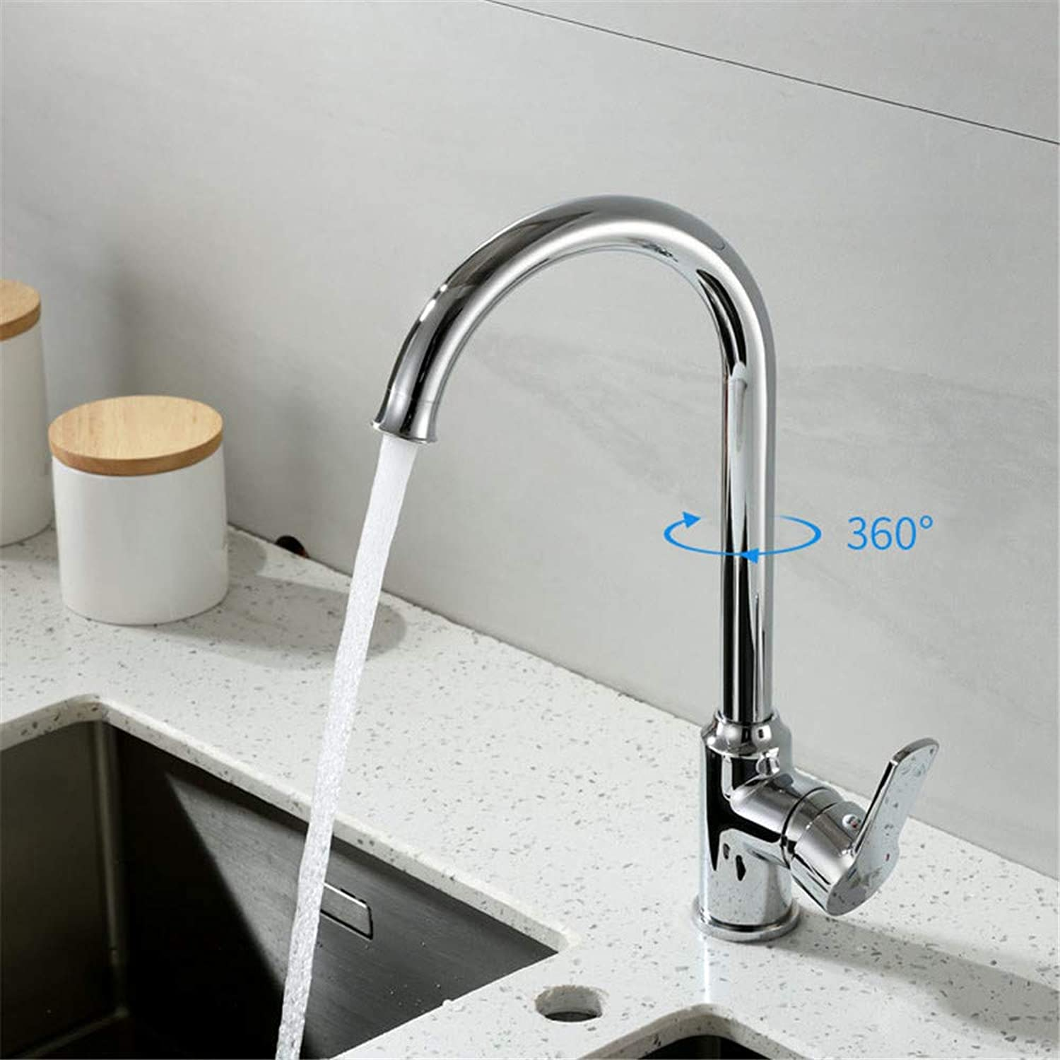 HHWY Kitchen sink faucet, all copper hot and cold water single handle greenical bubbler faucet 360° redating sink plating household deck inssizetion faucet