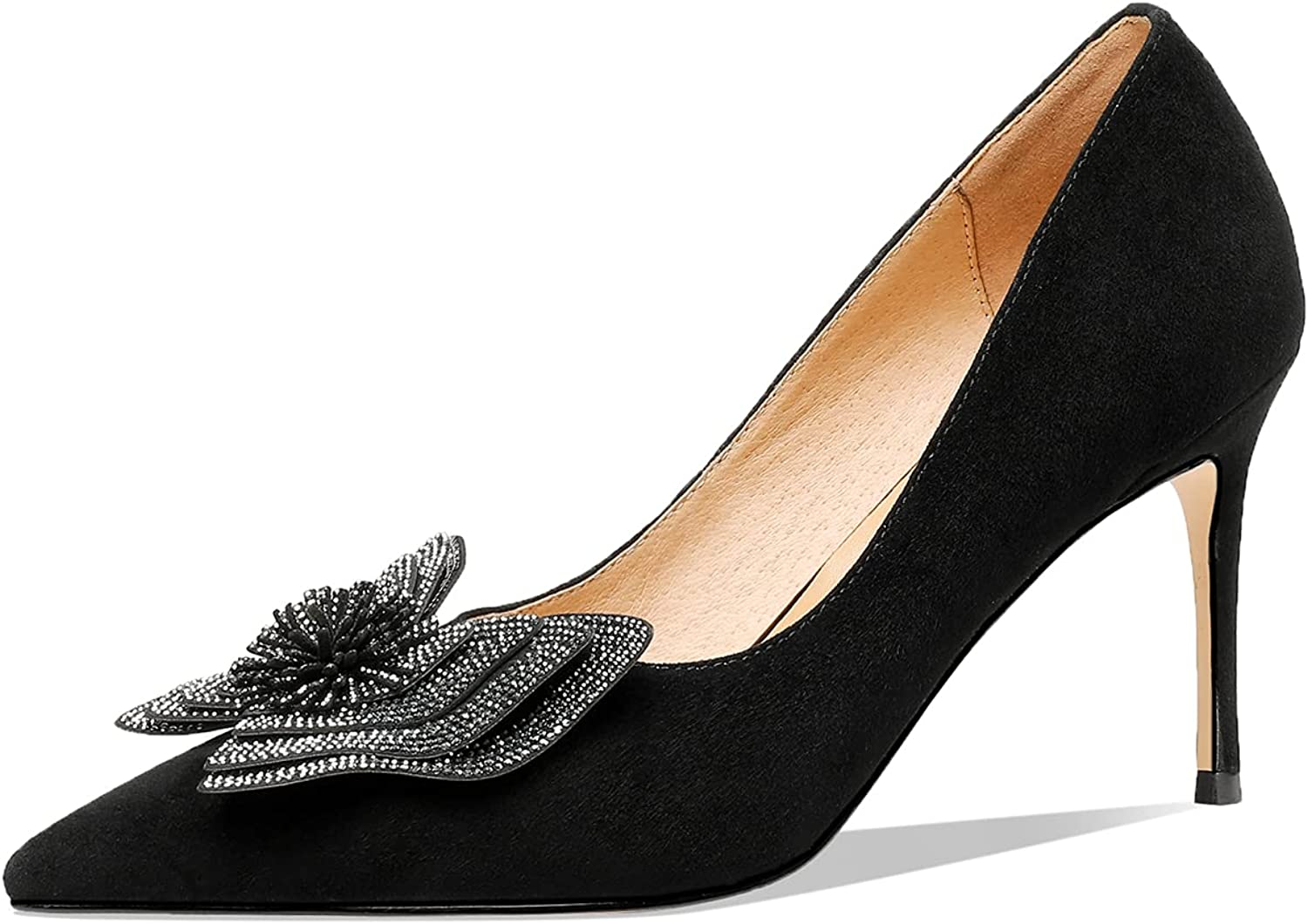 TinaCus Suede Leather Women's Handmade Stiletto Toe discount Sexy Spasm price Pointed