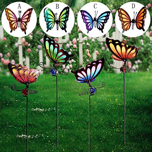 ORG Juego de 4 piezas para decoración de jardín de mariposas de 33 cm, decoración de patio de metal, decoración de camino de césped interior y exterior