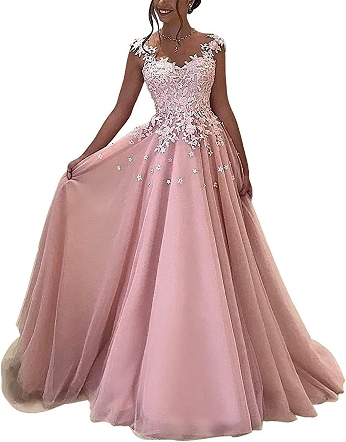Alexzendra Scoop Neck ALine Prom Dress Applique Illusion Back Long Evening Dress