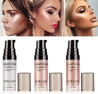 Lady Lighweight Sheer Highlighter Radiant Illuminator Glow Makeup Shimmer Facial Bronzer Contour Cosmetic(6ml/0.20Fl Oz) (01# SILVER)