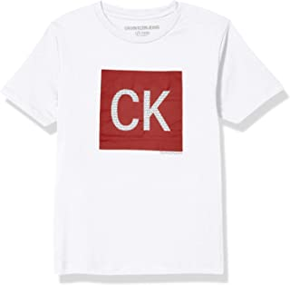 Calvin Klein Boys' Short Sleeve Block Logo Crew Neck Tee Shirt