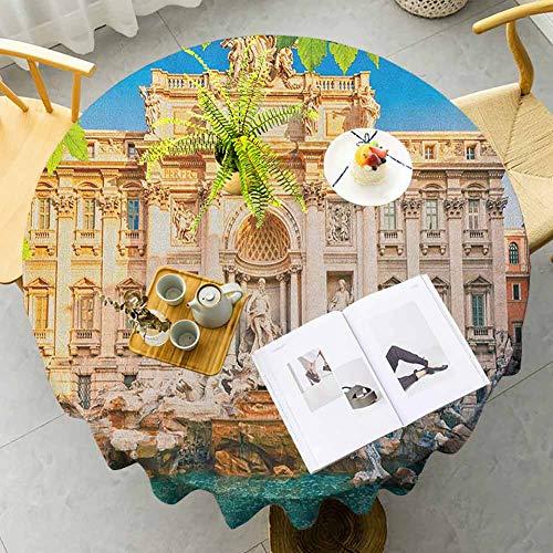 KFUTMD Pad Round Tablecloth Italy Fountain Di Trevi Famous Travel Destination Tourist Attraction European Landmark Multicolor Wedding Patio Dining Dorm Diameter 70'