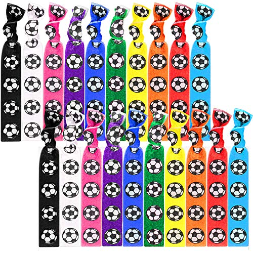 20 Pieces Football Hair Ties Accessories Soccer Hair Bands Sport Girls No Crease Ribbon Soccer Ponytail Holders