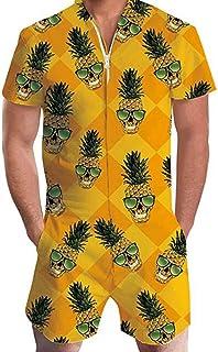Allthemen Men's Summer Shorts 3D Printed Short Sleeve Jumpsuit One Piece Romper Outfits