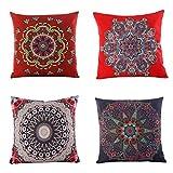 "Jartinle Set of 4 Retro Floral Mandala Compass Medallion Bohemian Boho Style Summer Decor Cushion Case Decorative for Sofa Couch 18"" x 18"" Inch Cotton Line (Bohemian Ethnic Style)"