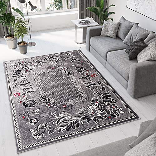 tappeto salotto ovale TAPISO Dream Tappeto Soggiorno Salotto Moderno Crema Grigio Scuro Quadrato Foglie Floreale A Pelo Corto 140 x 200 cm