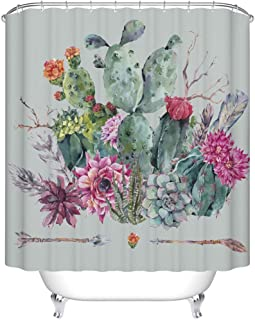 Goodbath Cactus Shower Curtain, Plant Flower Spikes Design Waterproof Fabric Bathroom Bath Curtains, 72 x 72 Inch, Colorful