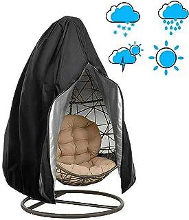 CSPone - Funda para Silla Colgante, Funda de sillón Colgante, Funda de protección para Huevos sillas, Fundas Impermeables para Muebles de jardín, 190 x 115 cm, Color Negro
