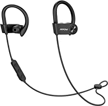 Mpow D9 Bass+ Bluetooth Headphones 16H Playback, aptX Sound Wireless Earbuds Sports Bluetooth 5.0, IPX7 Waterproof Earphones w/CVC6.0 Noise Cancelling & MEMS Mic, Black