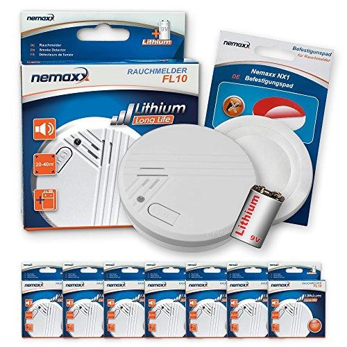 7X Nemaxx FL10 Rauchmelder + 7X Nemaxx NX1 Quickfix Befestigungspad - hochwertiger Rauchwarnmelder mit langlebiger 10 Jahre Lithium-Batterie - nach DIN EN 14604