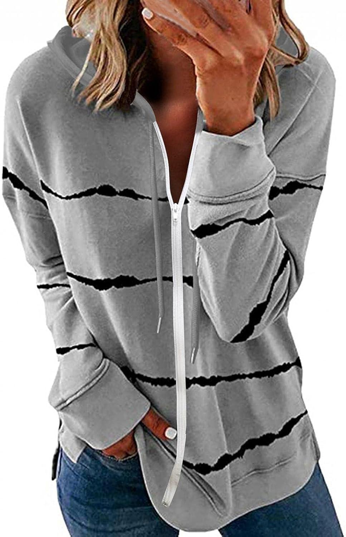 Masbird Cardigan for Women, Womens Casual Long Sleeve Cardigan Crewneck Striped Sweatshirts Zip up Loose Pullover Tops