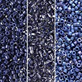Miyuki Delica Seed Beads Bundle: Size 11/0, Dark Wash Denim Collection DB2143, DB2167, DB2317