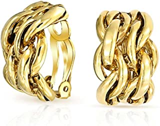 Twisted Cable Chain Wide Half Hoop Clip On Earrings For Women Shiny Polished Non Pierced Ears More Colors