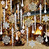 72Packs Clear Acrylic Christmas Snowflake Icicles Hanging Icicle Drop with Crystal Line Ornaments Set for New Year Party Christmas Tree Decorations (72, Transparent)