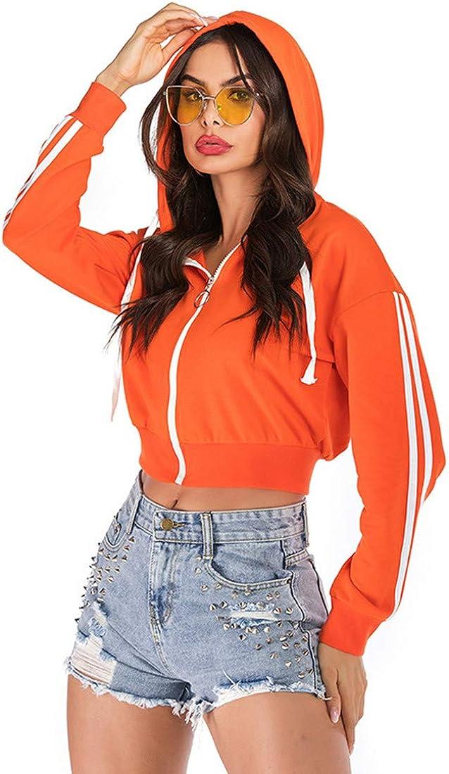 Women's Solid Sweatshirt Long Sleeve Crop Hoodie Zipper Workout Drawstring Hooded Tops