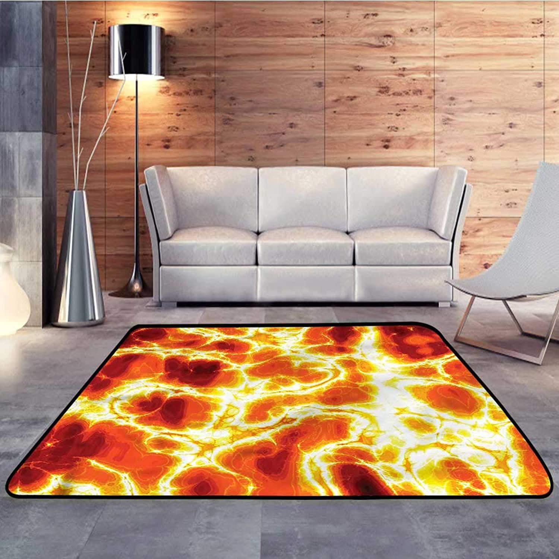 Carpet mat,Burnt orange,Hot Burning Lava FireW 55  x L63 Floor Mat Entrance Doormat