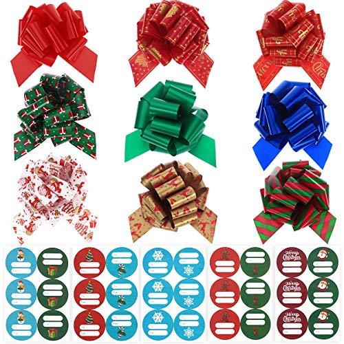 TOYMYTOY Regalo di Natale Archi Nastri 90 PZ Regalo Avvolgere Tirare Gli Archi con 90PCS Autoadesivo Natale Tag Tag Adesivi Natale Archi Assortimento