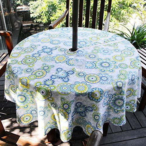 BSTKEY - Tovaglia da giardino per esterni, 152,4 cm, con cerniera e foro per ombrello, resistente all'acqua e alle macchie