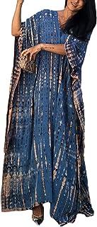 Bsubseach Women Blue Print Beach Kaftan Dress Half Sleeve Plus Size Bathing Suit Cover Ups Caftan Dresses