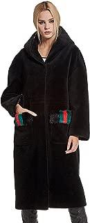 Women's Lamb Shearing Fur Coat Thick Warm Long Winter Coat with Hood