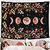 タペストリーサイケデリックムーンスターリーフラワーウォールハンギングルームスカイアーティストホームデコレーションアクセサリーウィススターライト60X50in