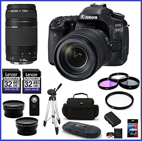 Best Bargain Canon EOS 80D DSLR Camera with 18-135mm Lens (USA) + Canon EF 75-300mm f/4-5.6 III Lens...