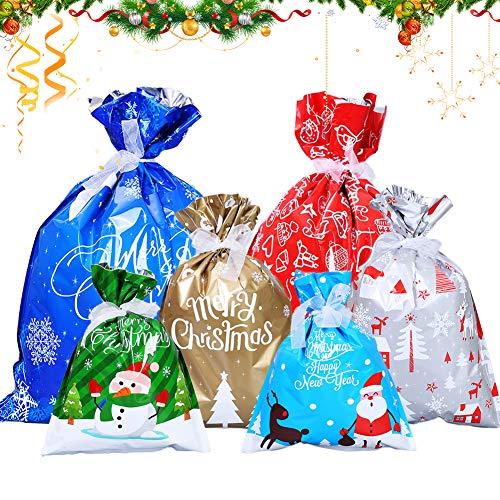 BESLIME 20 Pezzi Sacchetti Regalo Natalizie Borse da Imballaggio Tratta Le Borse Goody Bags con Sacchetti Regalo Grandi per Decorazioni Natalizie Favore di Partito Confezione