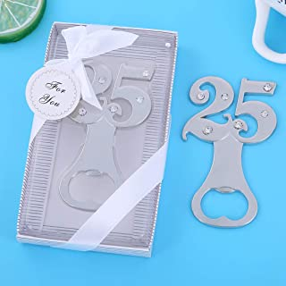 24 pcs Birthday Party Favors for Guests,Number 25th Silver Wedding Anniversary Beer Bottle Openers for Baby Shower Bridal Shower Party Gift Decoration by WeddParty(Silver 25) (Silver 25, 24)