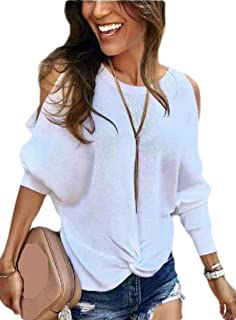 Women's Casual Cold Shoulder Long Sleeve Knit Pullover Sweater Jumper