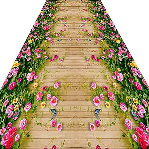 HYHMJ-Estilo De Camino De Flores Frescas Alfombra Pasillo Larga Alfombra De Pasillo Muy Rendida Alfombra De Salón Mullida Alfombra De Entretenimiento Antideslizante Higroscópica,A,100x270cm