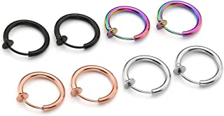 PiercingJ 8pcs Stainless Steel 12G Fake Nose Ring Hoop Non Piercing Septum Clip on Spring Faux Lip Ring Helix Cartilage Ea...