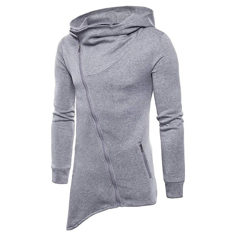 YKARITIANNA Mens Asymmetric Design Zip Up Solid Casual Autumn Long Sleeve Pullover Sweatshirt Hoodie Zipper Coat Top zgnvzloc496484