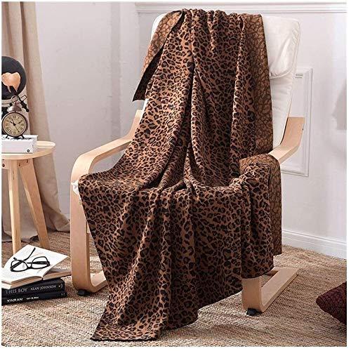 BBGSFDC Animales Leopardo Manta de impresión de algodón, de Peso Ligero Agradable Suave Manta de Viaje for Sofá Sofá, 47 por 71 Pulgadas, Propia