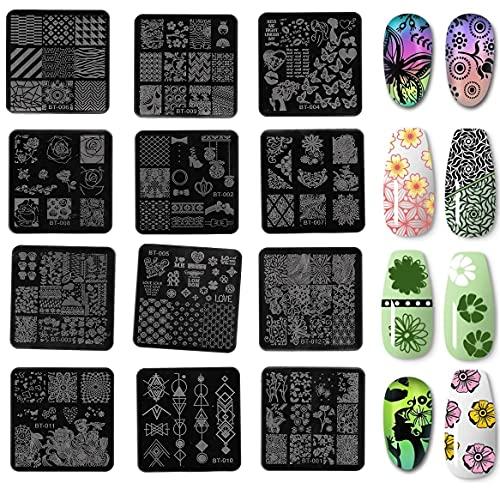 Nagel Schablone Stempel Set, KARLOR 12 Pcs Schablone 110 Nagel-Muster, Nail Art Plates Stamping Art mit Metallplatten Stempel Schaber Mappe Stamping Schablone Nagel Tattoo für Maniküre Nagelkunst