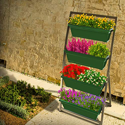 6-Ft Raised Garden Bed - Vertical Garden Freestanding Elevated Planter with 4 Container Boxes - Good for Patio or Balcony Indoor and Outdoor - Cascading Water Drainage (1-Pack/Forest Green)
