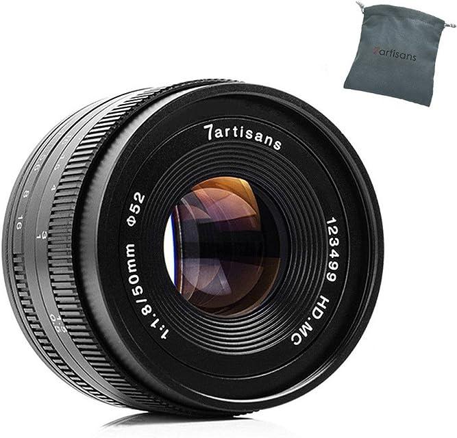 7artisans 50 mm F1.8 APS-C Lente de Enfoque Manual Muy Adecuado para cámaras compactas sin Espejo Canon M1 M2 M3 M5 M6 M10 Mos EOS-M Montura Negra