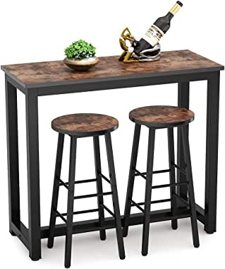 Tribesigns 3-Piece Pub Table Set, Kitchen Bar Table and Stools Set Counter Height Dining Table Set with 2 Chairs for Breakfast Nook, Dining Room, Living Room, Small Space (Rustic Brown)
