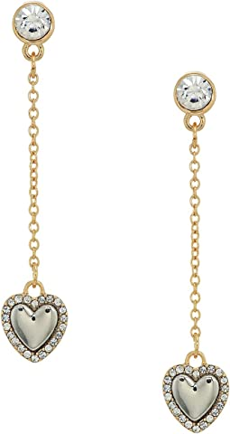 Dainty Heart on Chain Linear Earrings