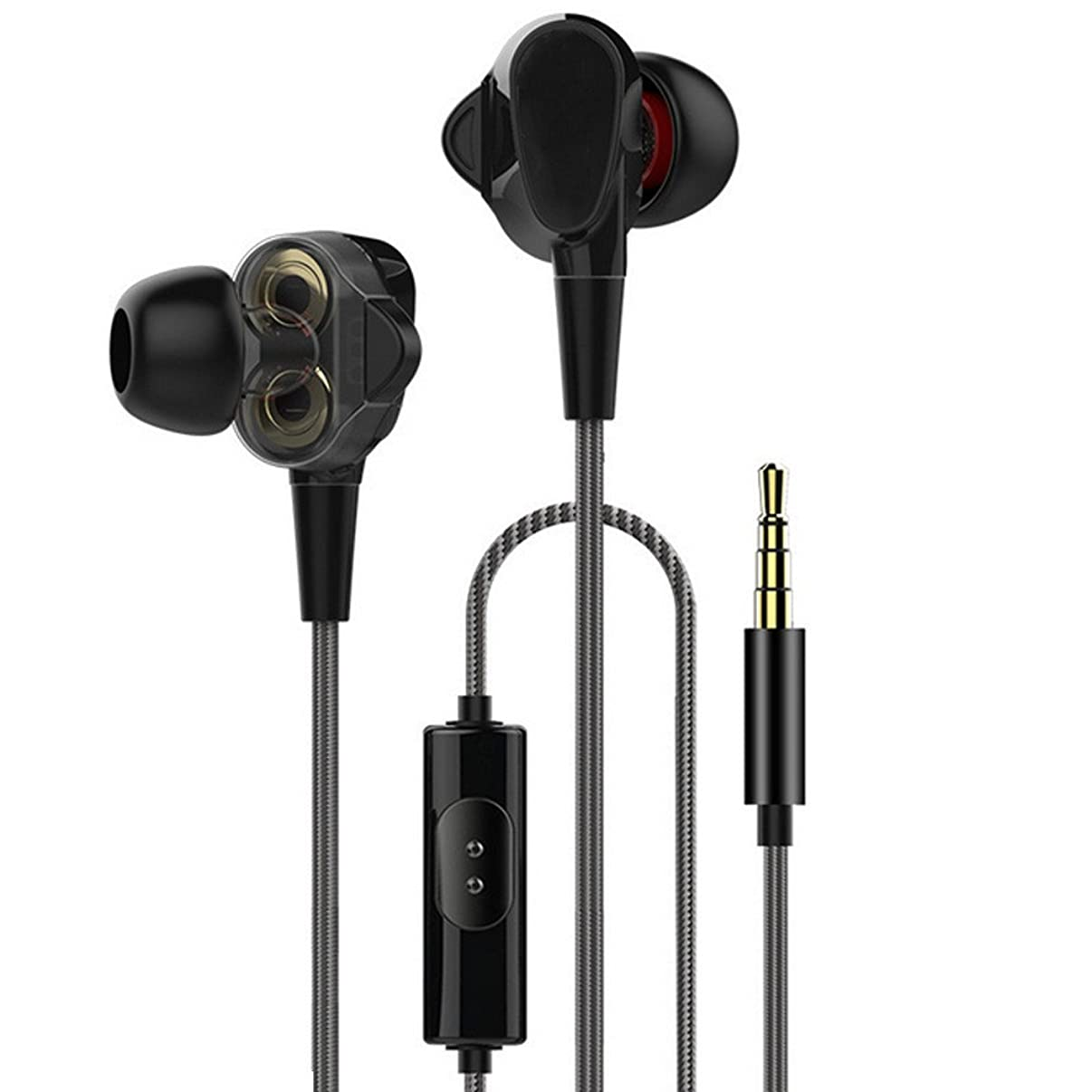 Headphone Earphones,HIFI Earphone Dual Dynamic Driver Headphone Super Bass Stereo Headset With Mic,Drums & Percussion,Black,Clearance Sale