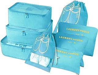 Organizador de Maletas, 8 Piezas Bolsas Organizadoras Maleta, Impermeable Organizadores Maleta Viaje Equipaje Incluir 3 Cubos de Embalaje, 3 Bolsos de la Compresión y 2 Bolsas de Zapatos