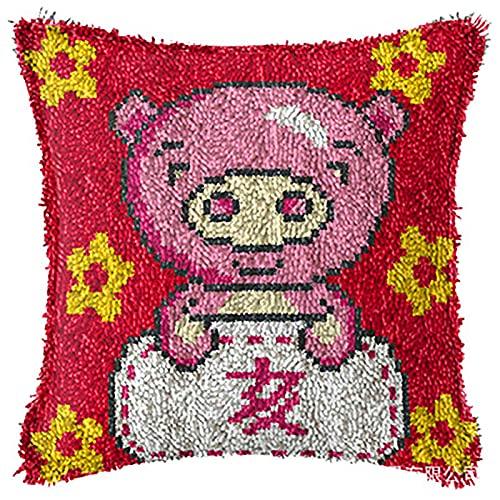 WYB Kit de Gancho de la Alfombra Kit de Adultos Kit de Adultos DIY DIY Funda de Almohada Decorativa Bordado Costura de Punto de Cruz, Muebles de sofá para el hogar, Decoración,3,43 * 43cm