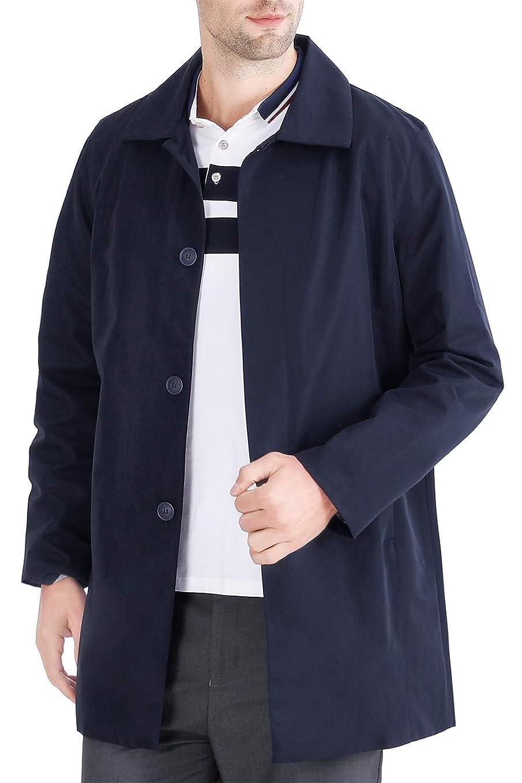 簡略化する放散する肌寒い(オリマート) ORI-MART メンズ ステンカラー コート トレンチコート ロング アウター 春秋 防風 無地 シンプル カジュアル 大きいサイズ