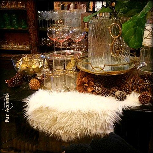Classic Shag Fur Table Runner/Snow White/Dresser Scarf/Contemporary Decor/Doily/Shaggy Sheepskin Faux Fur (16''x24'')